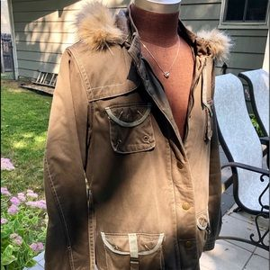 Steve Madden canvas parka coat,removable for hood.